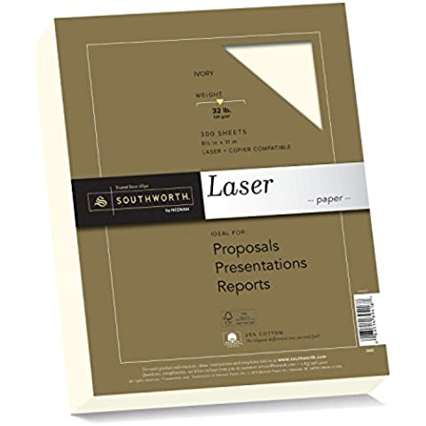 25% Cotton Premium Laser Paper,Ivory, 32 lbs, Smooth, 8-1/2 x 11, 300/Pack, Sold as 1 Package