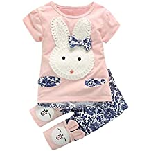 Vestido niña ❤ Amlaiworld Camiseta de manga corta para niñas pequeñas Tops + Pantalones Bunny