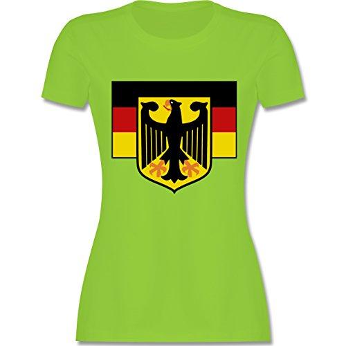 Länder - Deutschland Flagge mit Adler - tailliertes Premium T-Shirt mit Rundhalsausschnitt für Damen Hellgrün