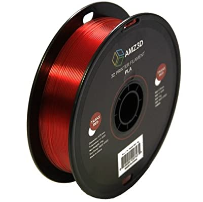 1.75mm Transparent Red PLA 3D Printer Filament - 1kg Spool (2.2 lbs) - Dimensional Accuracy +/- 0.03mm