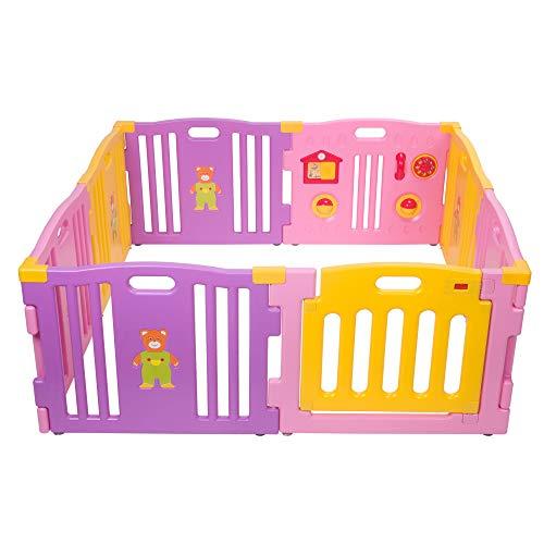 Mcc® Box Bambini Recinto Bimbo in plastica con 8 pannelli, Barriera Protettiva con Cancelletto (Colore Rosa)