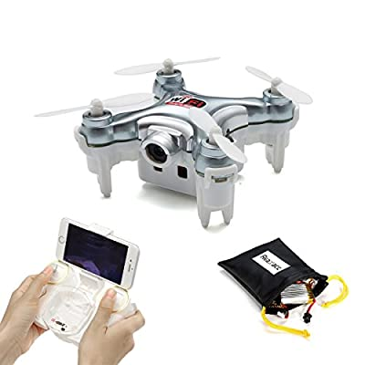 REALACC CX-10WD-TX Mini Wifi FPV Quadcopter Drone With HD Camera High Hold Mode 2.4G 6-axis Remote Control Nano Quadcopter RTF Mode Switch (Grey)