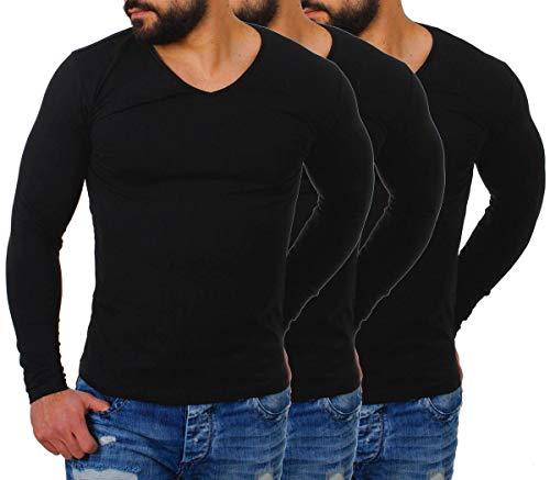 Young & Rich Herren Longsleeve tiefer V-Ausschnitt Langarm Shirt einfarbig Slimfit mit Stretchanteilen Uni Basic deep V-Neck Tee 2001, Grösse:L, Farbe:Schwarz - 3 Stück