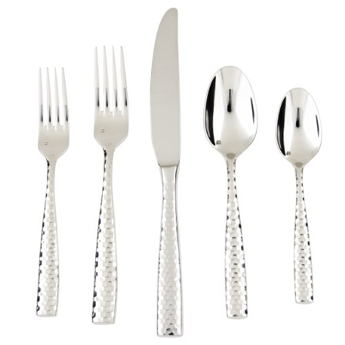 Fortessa Lucca Faceted 18/10 Stainless Steel Flatware, 5 Piece Place Setting, Service for 1 by Fortessa (Fortessa Besteck)