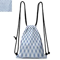 Geometric Durable Drawstring Backpack Checkered Grid Style Squares Pattern with Oval Shapes Vintage Design Inspirations Suitable for Carrying Around Multicolor