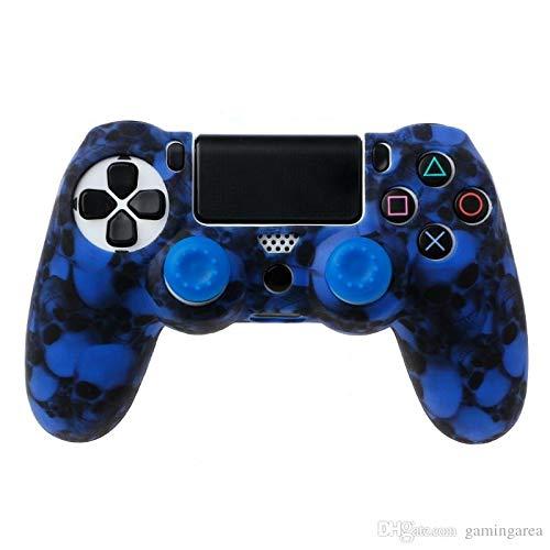 Skins4u Silikon Schutzhülle Case Skin Grip kompatibel mit Playsation 4 PS4 Controller Skulls Blue