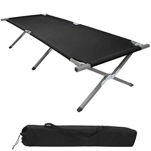 BB Sport Feldbett XXL 200 x 70 x 52 cm stabiles Campingbett mit Stahlrohr verstärkt bis 150 kg belastbar, Farbe:schwarz