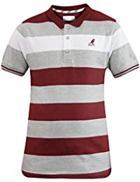 New Mens Kangol Brand Yarn Dyed Stripe Polo T-shirt Casual Rib Collar Button Top