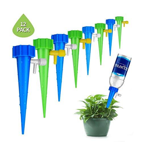 Bewässerungstropfer Garten 12 Stücke Pflanzenwasserspender Automatische Bewässerung Nagel System Einstellbare Wasserdurchfluss Tropfbewässerung Bewässerung Ausrüstung Kit -