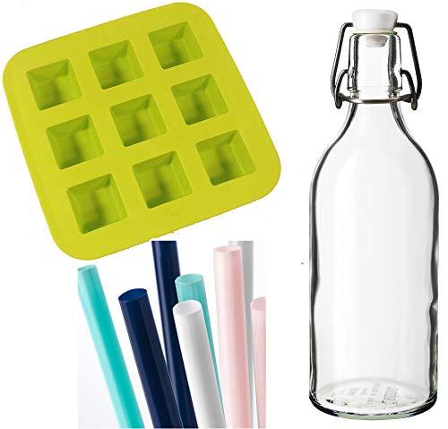 Flasche mit Stopper, Klarglas für Wasser/Flüssigkeit / Display + Eiswürfelschale & Trinkhalme Bundle - Flüssigkeit Blumen