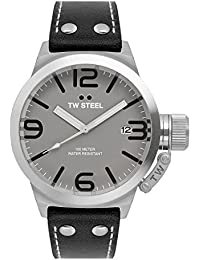 TW Steel Unisex reloj infantil de cuarzo con esfera analógica gris y correa de cuero negro TW944
