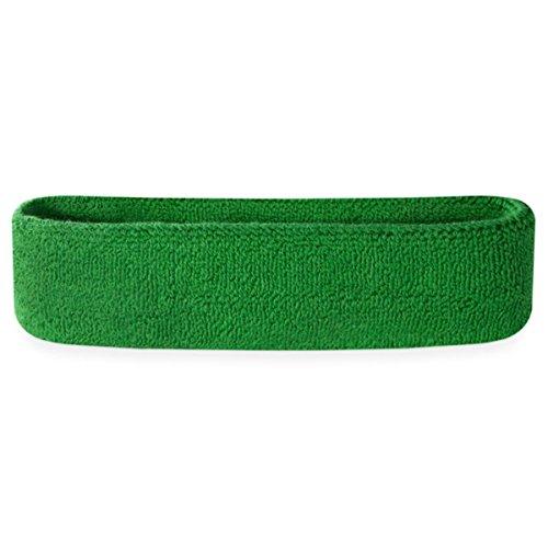 Suddora Schweißbänder für den Kopf, Baumwoll-Frottee, für Sport, damen Herren Kinder, grün, Standard-Größe