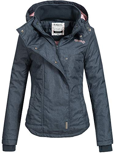 Sublevel Damen D5174X46550D Übergangsjacke Jacke mit Kapuze Night Navy Melange M