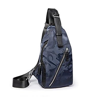 Anguang Hommes Sacoche à Bandoulière Cuir PU Mode Camping Randonnée Sling Bag Sac de Poitrine