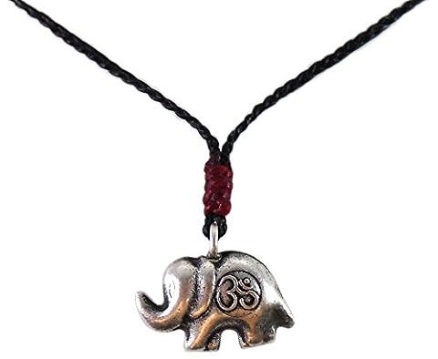 BUSABAN Asiatique 100% Fait Main Argent 925 Perles Pandant éléphant OHM Symbole Colliers Rouge Marron Ficelle de Cire Bouton