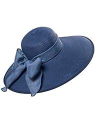 Kylin Express Casquette été pliable chapeau de paille plage soleil Femme (Bleu Profond)