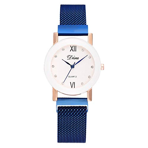 XZDCDJ Quartz Uhr Damen Armbanduhr Mode einfache Damenuhr Farbe Cool Matt zifferblatt Damen mesh gürtel Uhr Blau -