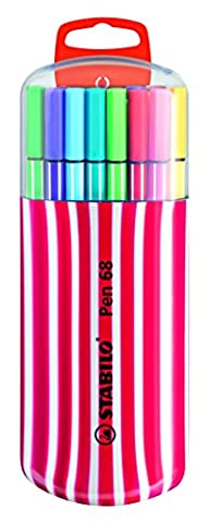 STABILO Pen 68 - Étui Zebrui framboise de 20 feutres pointe moyenne - Coloris assortis