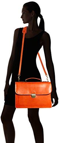 Man Tasche von CTM Arbeitsordner, Port Dokumente, 38x27x7cm, 100% echtes Leder Made in Italy Orange (Arancione)