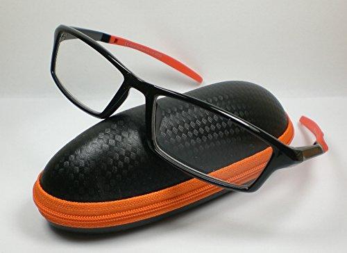 OOTB Sportliche Herren Lesebrille mit Etui Lesehilfe Fertigbrille 5 Farben orange/schwarz +3,0