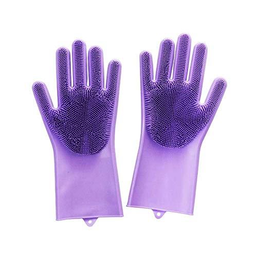 Aisoway Kuechenwaschmaschinen Reinigungsschwamm Handschuhe Mit Langen Borsten Silikon-Bürsten-Wäscher-Handschuhe Wiederverwendbare Magic Gloves (Kommerzielle Wäscher)