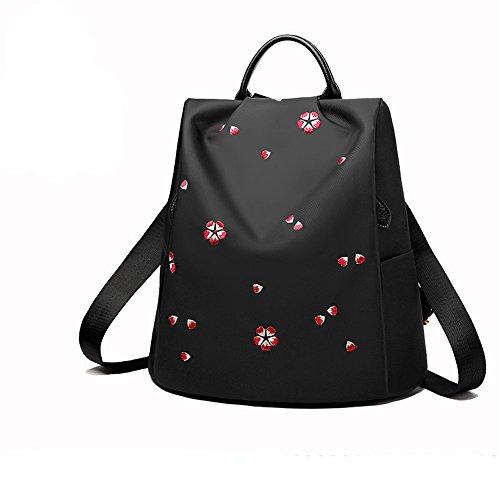 RFVBNM Frau Tasche bestickt Oxford Tuch Doppel-Schultertasche Lady Canvas Anti-Diebstahl Rucksack Mumie Tasche Reiserucksack Studenten Rucksack Camping und Einkaufstasche Bestes Geschenk für Mädchen,  Cherry