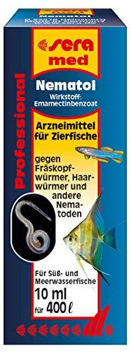 sera 02196 med Professional Nematol 10 ml - Arzneimittel für Zierfische gegen Fräskopfwürmer, Haarwürmer und andere Nematoden