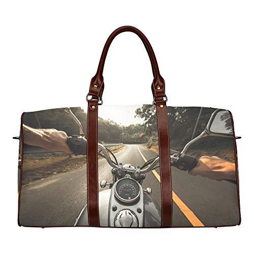 Reisetasche Blick auf EIN Reitmotorrad wasserdichte Weekender-Tasche Reisetasche Frauen Damen-Einkaufstasche Mit Mikrofaser-Leder-Gepäcktasche