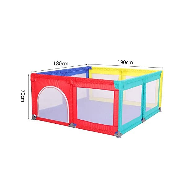 Playpen Big Bed Anti-drop Baffle for Infants, Baby Indoor Outdoor, Kid's Safety Activity Center, 180x190x70cm (color : Multicolor) Playpen  2