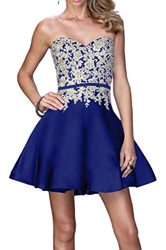 Ivydressing Damen Beliebt Spitze Applikation Herzform A-Linie Promkleid Partykleid Abendkleid Royalblau