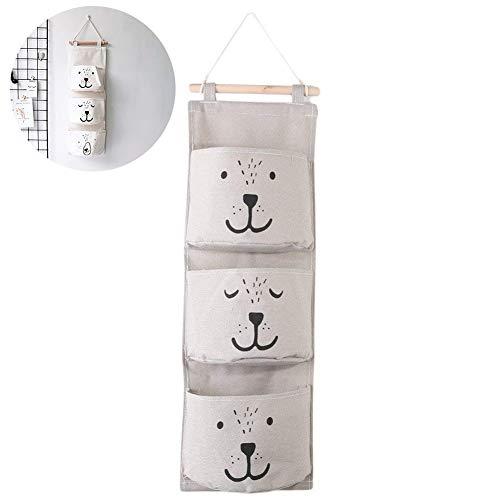 Ouken 1 Pcs Niedlichen Bären Wand Montiert Aufbewahrungstasche über der Tür Lagerung Taschen Wand Tür Schrank Hängen Aufbewahrungstasche Organizer mit 3 Taschen für Schlafzimmer Bad (Grau) -