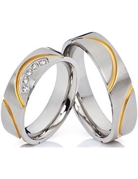 2 Verlobungsringe Eheringe Trauringe Partnerringe aus Edelstahl mit 5 Zirkonia im Damenring und gratis Gravur
