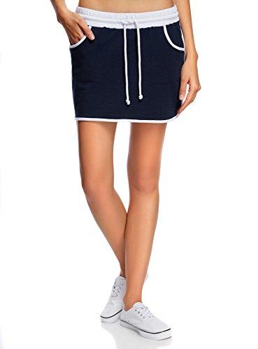 Oodji ultra donna gonna sportiva in maglia, blu, it 42 / eu 38 / s