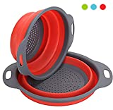 Collapsible Kitchen Colander , 2 Pcs Silicone Strainer Set Includes 2 Sizes 8