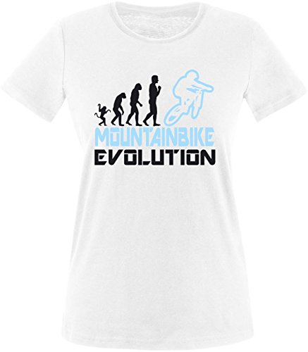 EZYshirt® Mountainbike Evolution Damen Rundhals T-Shirt Weiss/Schwarz/Hellbl