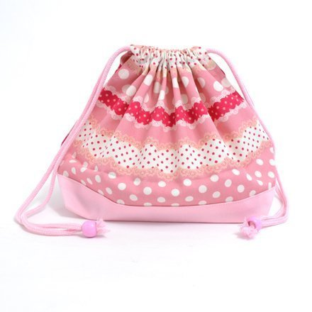 Harmony polka dot and lace (medium size) with gusset lunch bag ribbon drawstring Gokigen lunch (pink) x Ox pink made in Japan N3462800 (japan import)