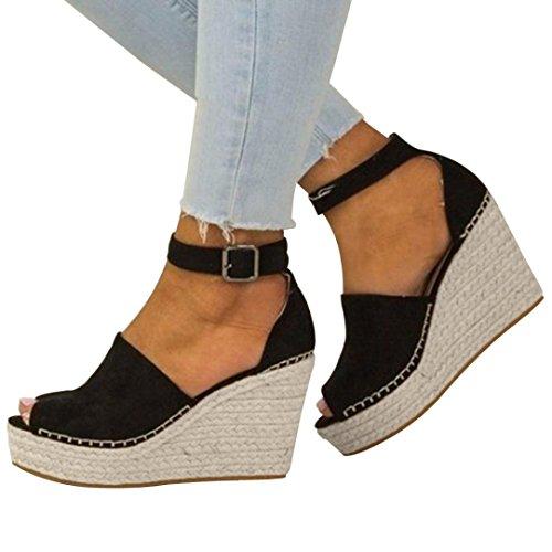 Elecenty scarpa tacco alto sexy sandali donna con plateau e bocca di pesce scarpe con tacco alto con pendenza a cinque stelle sandali eleganti (34 eu, nero)