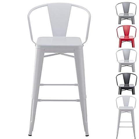 Tabouret de bar industriel en metal blanc Duhome TYPE 9-634 chaise de bar VINTAGE STYLE