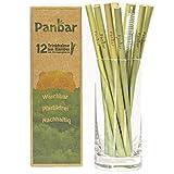 Panbar Strohhalme aus 100% Bambus Trinkhalme nachhaltig & wiederverwendbar   12er Pack   inkl....