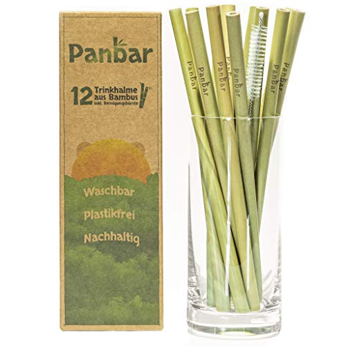 Panbar Strohhalme aus 100% Bambus Trinkhalme nachhaltig & wiederverwendbar | 12er Pack | inkl. Reinigungsbürste | BPA Frei | Öko Strohhalme -