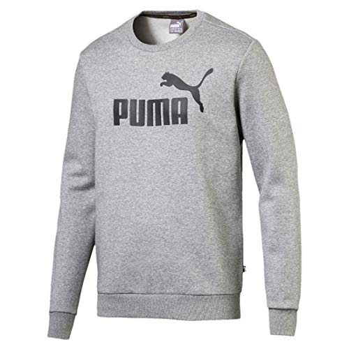 Puma Herren Pullover Sweat Sweatshirt Pullover Puma ESS Logo Crew Sweat TR big logo Headgear Sportstyle Core / Kids CORE Male 851750_03-Medium Gray Heather-3XL