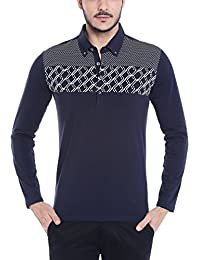 Dream Of Glory Inc. Men's Long Sleeve Buttoned Down Collar Cotton Geo Inspired Stripe Printed Polo Shirt In Plus...