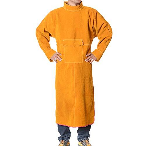 ZJW Cowhide Welding Jackets 120CM Lange Schweißschürze, schwer entflammbare Schweißerkleidung Mantel mit Ärmeln, verschleißfester Schweißerschutzumhang