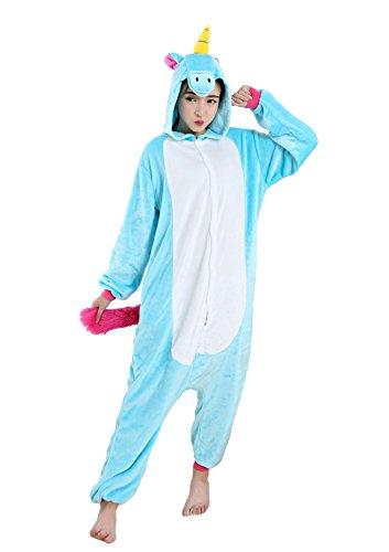 Nicetage Jumpsuit Schlafanzug Onesie Tier Kostüm Unisex Nachtwäshe Erwachsene Kigurumi Pyjama Blau-M