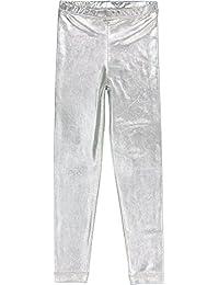 Masala Kids Girls' Little Metallic Leggings Silver