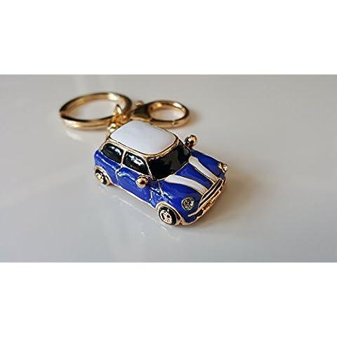 Llavero, diseño de coche Mini, color azul y rojo
