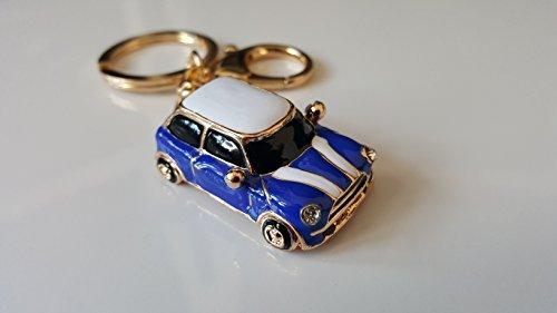 mini-estilo-llavero-de-coche-regalo-azul-rojo-brillantes-detalle-con-ribete-de-color-dorado