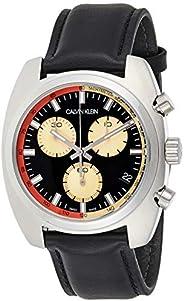 Calvin Klein Men's Quartz Watch, Chronograph Display and Leather Strap K8W3