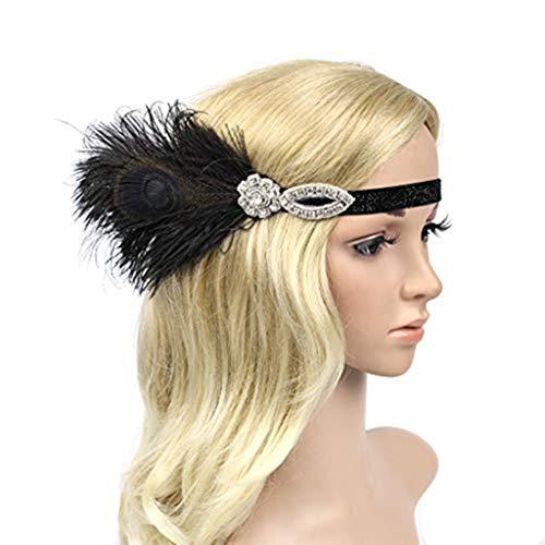 Likecrazy Feder Damen Stirnband Mädchen und Frauen Haarreif Hochzeit Party Flapper Haarband Damen Accessoires Kostüm Frauen Vintage Fascinator - Flapper Mädchen Kostüm Schwarz