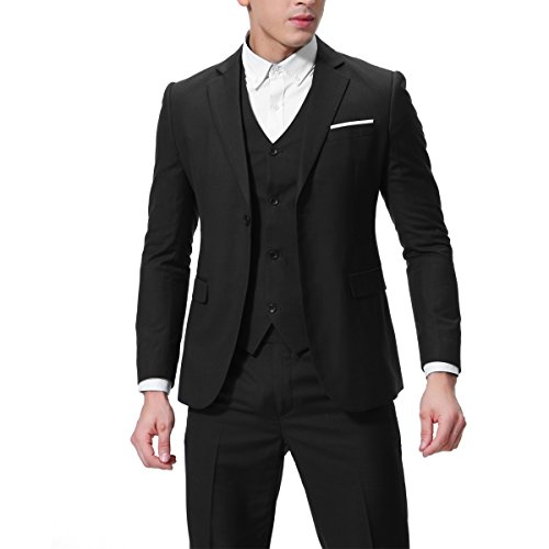 Herren 3-Teilig Slim Fit Anzug Zwei Knöpfe Business Sakko von Allthemen Schwarz